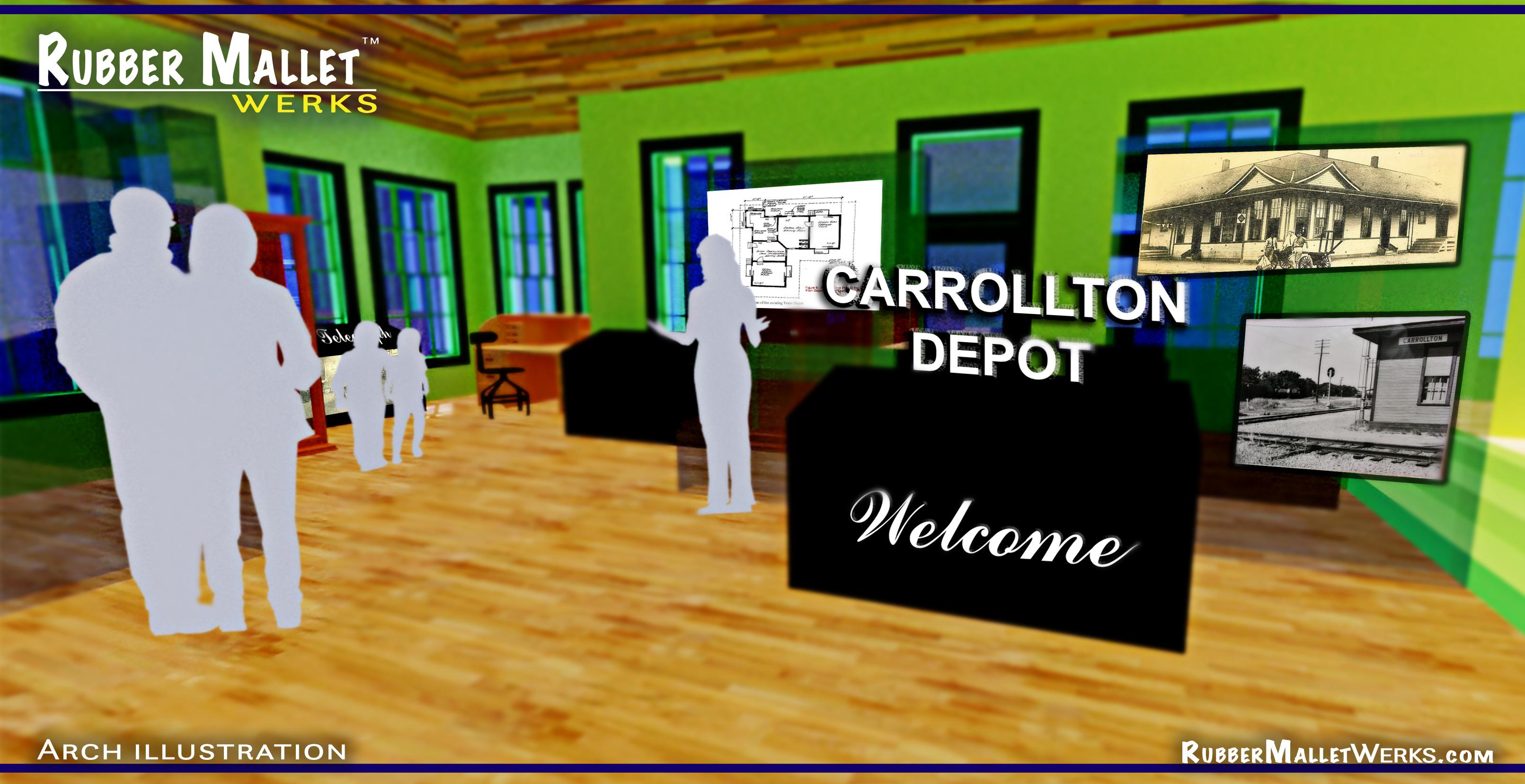 Carrollton Train depot_Interior render